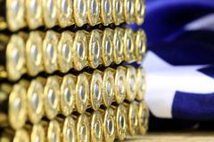 Rows of 45 caliber ammunition - stock photo