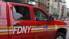 0530 Fireman patrol in action in New York City Stock Footage