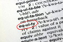 Stock Photo of The word equity in a dictionary