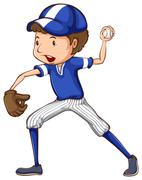 A simple drawing of a baseball player in blue uniform - stock illustration