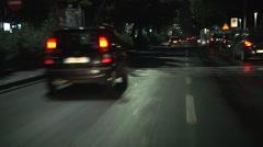 POV, p.o.v. Night driving on european italian sicilian city road after rain. - stock footage
