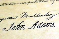 The United States Declaration Of Independence with John Adams signature Stock Photos