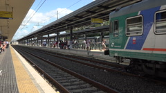 Livorna Italy central train station passengers HD 057 Stock Footage