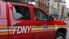0530 UHD Fireman patrol in action in New York City Stock Footage