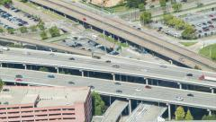 Houston TX Interstate Traffic Seen from Above Stock Footage