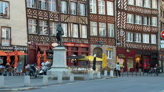 Half timbered buildings on Rue du Champ Jacquet - Rennes France Stock Footage