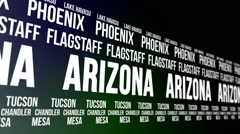 Arizona State and Major Cities Scrolling Banner Stock Footage