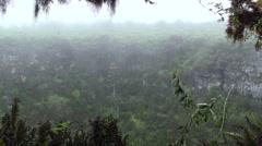 Forest Galapagos Islands Fall Volcanic Caldera Side Rain Cloud Pan - stock footage