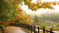 Autumn. Mountain hotel on the banks of the river. Prefecture Nagano. Stock Footage