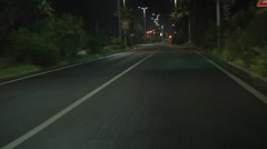 Palm trees street night time driving. 1080p. N 00058 Arkistovideo