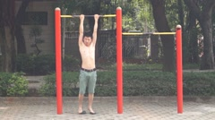 A naked man in exercise Stock Footage