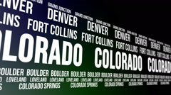 Colorado State and Major Cities Scrolling Banner Stock Footage