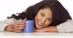 Happy Mexican woman with coffe Stock Photos