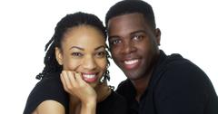 Happy Young Black couple looking at camera smiling Kuvituskuvat