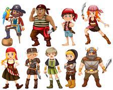 Warriors pirates and vikings - stock illustration