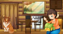 Dog and house housewife indoors - stock illustration
