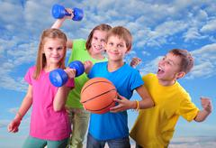 group of sporty children friends with dumbbells and ball - stock photo