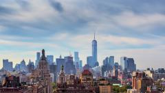 Beautiful clouds New York City Manhattan skyline. NYC, NY. 4K UHD Timelapse. Stock Footage