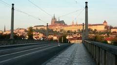 City - urban street (bridge) - Prague castle - nobody - morning Stock Footage