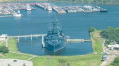 Battleship Texas seen from San Jacinto Memorial Stock Footage