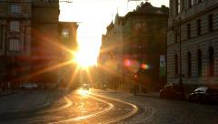 city - urban street with cars - sunrise - buildings - stock footage