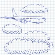 Airplane Sky Clouds Drawing Stock Illustration