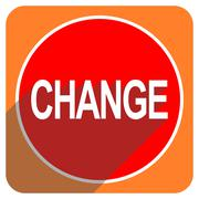 Change red flat icon isolated. Stock Illustration