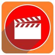 Video red flat icon isolated. Stock Illustration