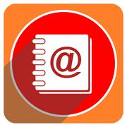 address book red flat icon isolated. - stock illustration