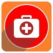 first aid red flat icon isolated. - stock illustration