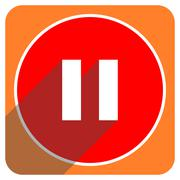 pause red flat icon isolated. - stock illustration