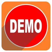 Demo red flat icon isolated. Stock Illustration