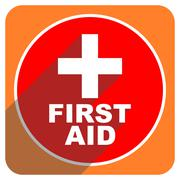 First aid red flat icon isolated. Stock Illustration
