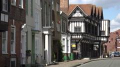 Merchant and tudor houses on bugle street, southampton, england Stock Footage