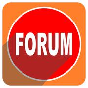 Forum red flat icon isolated. Stock Illustration