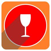 alcohol  red flat icon isolated. - stock illustration