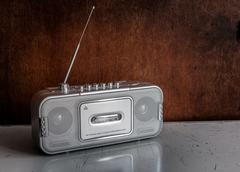 old cassette and radio player - stock photo