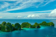 Indonesia, West Papua, Papua, Raja Ampat, Wayag, Small islands on sea Stock Photos