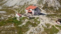 4k UHD tourist traffic refuge Locatelli dolomite alps 11557 Stock Footage