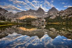 USA, California, Inyo National Forest, Banner Peak and Mount Ritter reflected in - stock photo