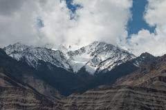 snow mountain range, leh india - stock photo