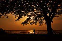 Indonesia, South Kalimantan, Banjarmasin, Silhouette of man walking on beach Stock Photos