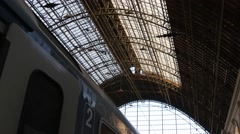 Budapest Keleti train station hall roof structure Stock Footage