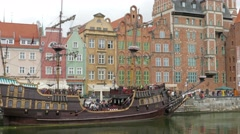 Gdansk, Poland. The Long Riverside promenade and old galleon ship in Gdansk - stock footage