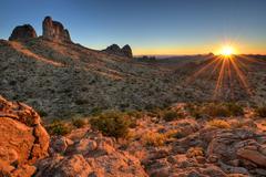 USA, California, Sunrise in Mojave National Preserve Stock Photos