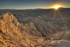 USA, California, Anza-Borrego Desert State Park, Landscape at sunset Stock Photos