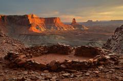 USA, Utah, Canyonlands National Park, View of False Kiva at Sunset Stock Photos