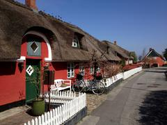 Traditional thatched cottages, Fanoe, Denmark Stock Photos