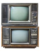 Isolated stack of old fasion tv Stock Photos