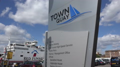 Red funnel ferry boat, town quay sign, southampton, england Stock Footage